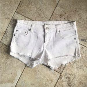 Aritzia Talula White Jean Shorts